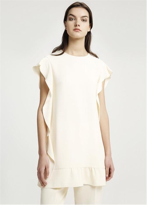 Kemik Kolları Etek Ucu Volanlı Mini Elbise