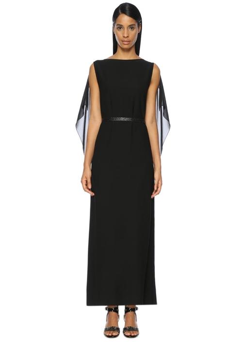 Siyah Kemer Detaylı Maksi Abiye Elbise