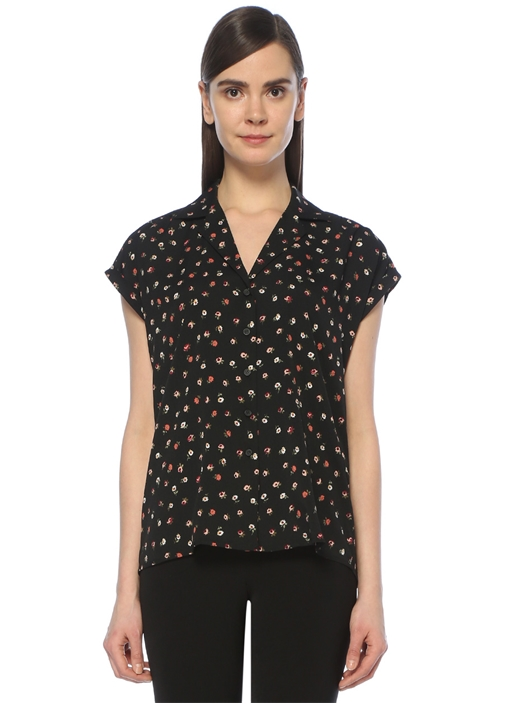 Siyah Çiçek Baskılı Casual Fit Gömlek