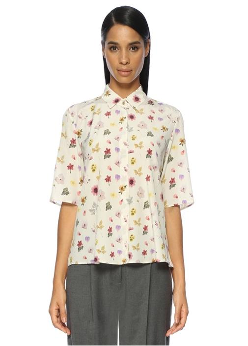 Çiçek Desenli Kısa Kollu İpek Casual Fit Gömlek