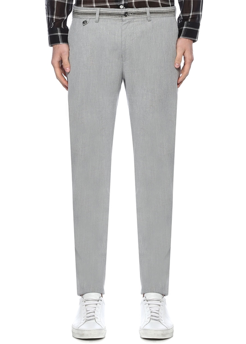 Slim Fit Bej Normal Bel Şeritli Chino Pantolon