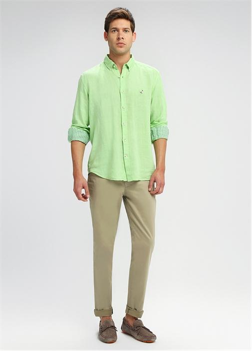 Comfort Fit Oxford Yaka Yeşil Keten Gömlek