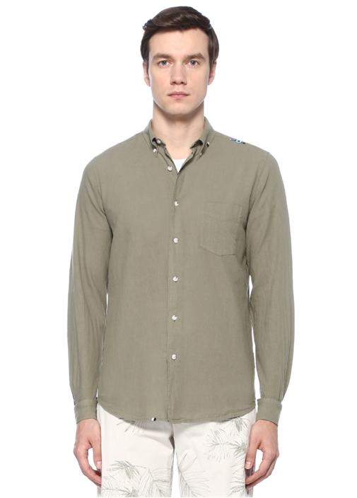 Slim Fit Haki Düğmeli Yaka Gömlek