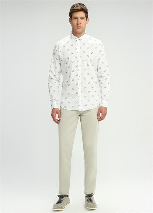 Slim Fit Oxford Yaka Beyaz Yengeç Baskılı Gömlek