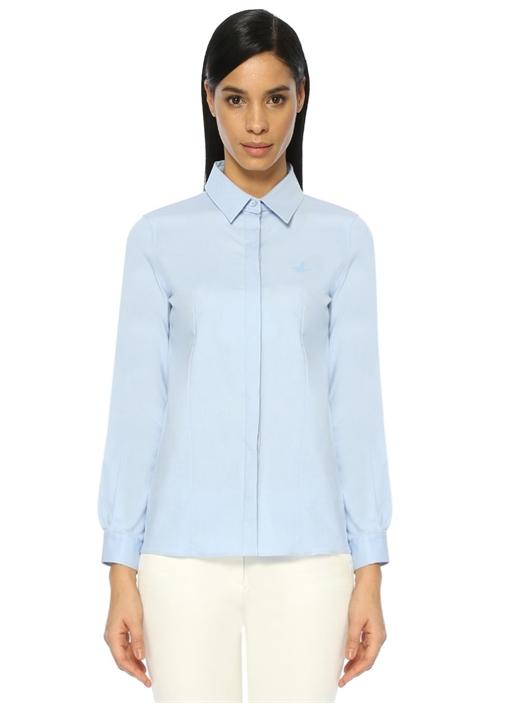 Mavi Açık Yaka Casual Fit Gömlek