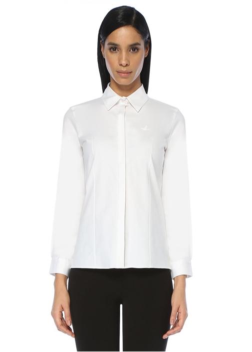 Beyaz Açık Yaka Casual Fit Gömlek