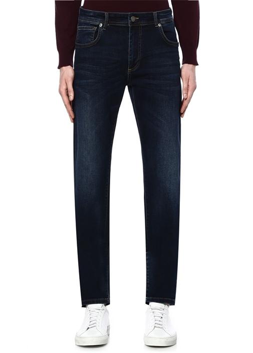 Lacivert Orta Yıkama Straight Fit Jean Pantolon