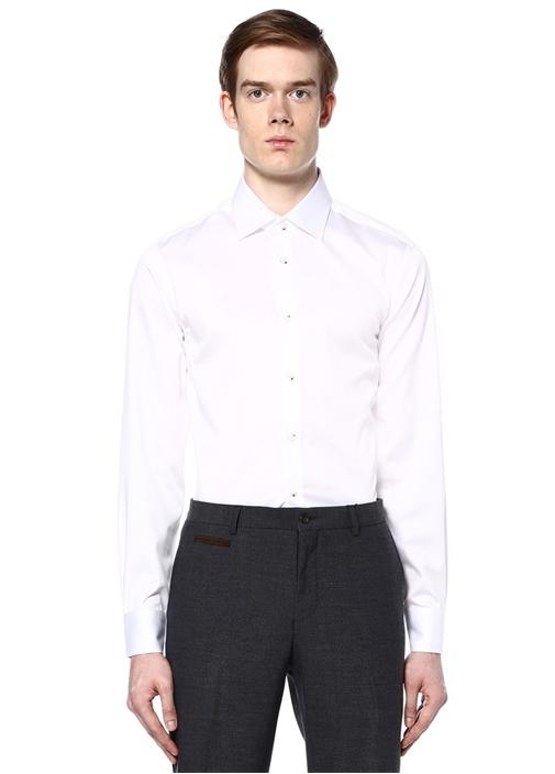 Beyaz Noniron Özellikli Slim Fit Gömlek
