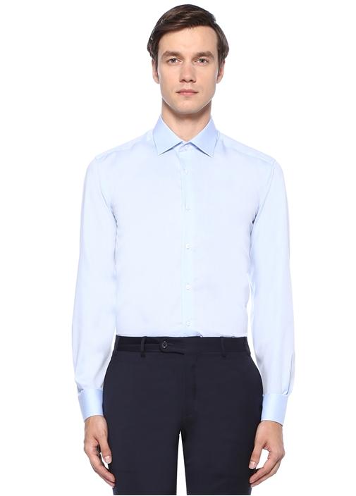 Comfort Fit Açık Mavi Non Iron Armürlü Gömlek