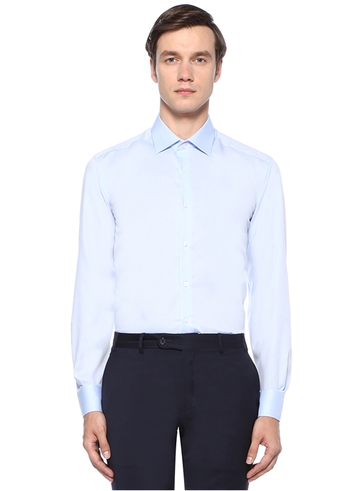 Comfort Fit Mavi Armürlü Non Iron Gömlek