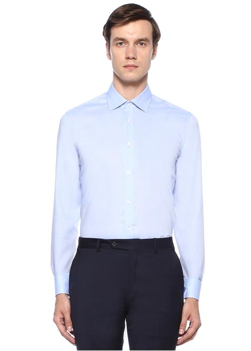 Slim Fit Non Iron Mavi Armürlü Gömlek