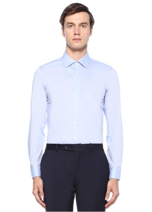 XSlim Fit Mavi Armürlü Non Iron Gömlek