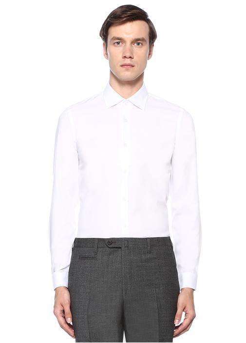 XSlim Fit Beyaz Non Iron Armürlü Gömlek