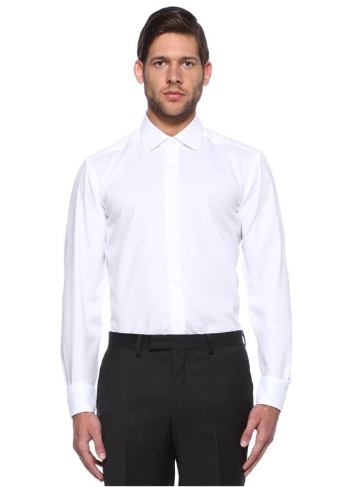 Comfort Fit Beyaz Non Iron Klasik Oxford Gömlek