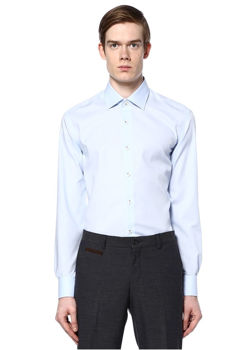 Mavi Noniron Özellikli Comfort Fit Gömlek