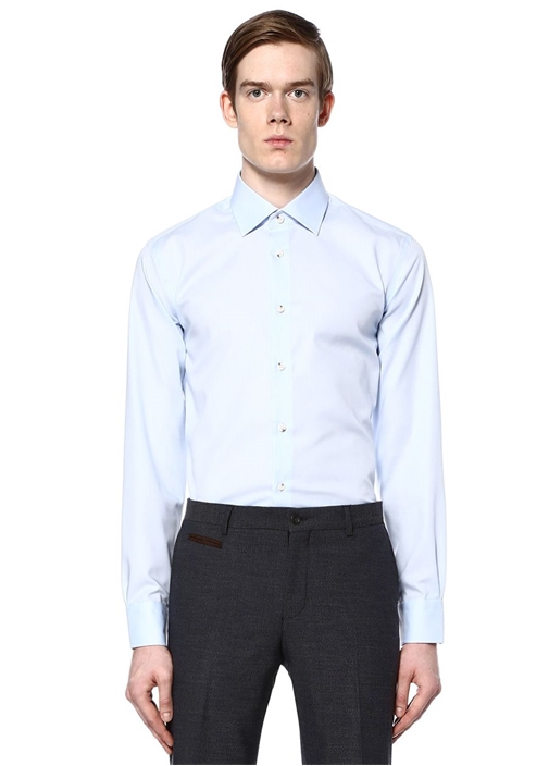 Mavi Noniron Özellikli Slim Fit Klasik Gömlek