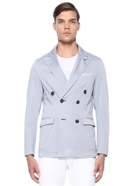 Mavi Kruvaze Yaka Çift Sıra Düğmeli Ceket
