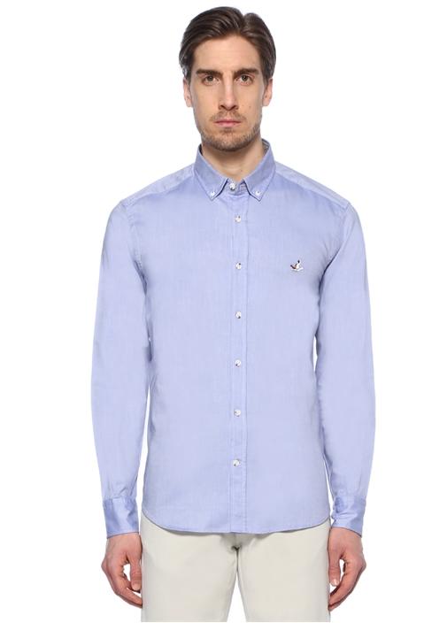 Koyu Mavi Yıkamalı Slim Fit Oxford Gömlek