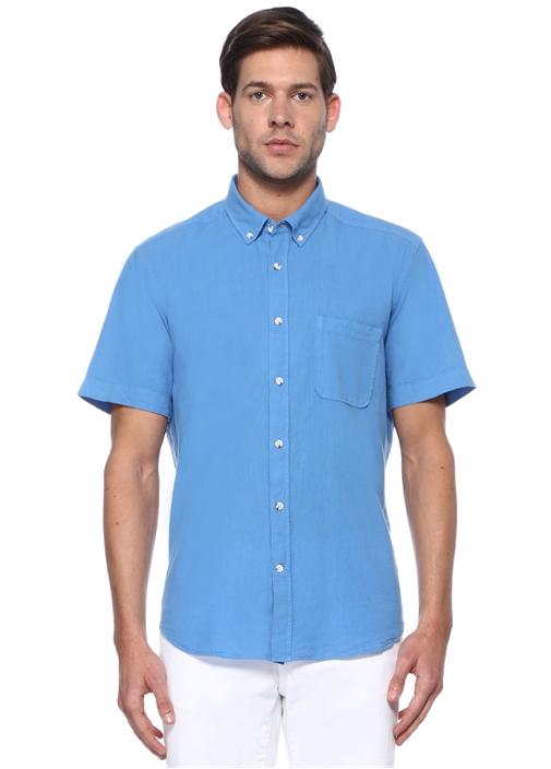 Custom Fit Mavi Keten Gömlek