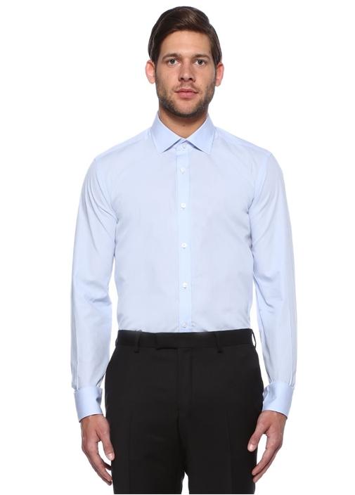 Custom Fit Mavi Dört Mevsim Gömlek
