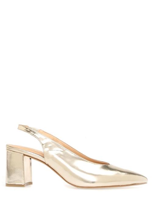 Gold Kalın Topuklu Ayakkabı