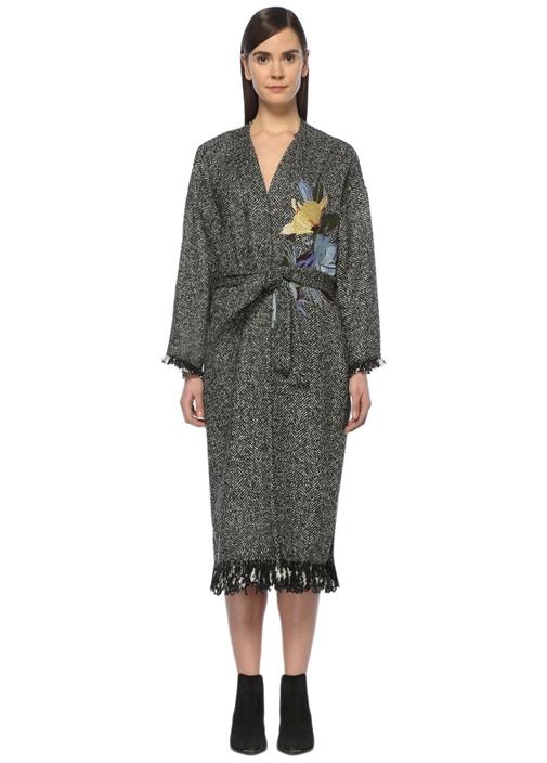 Gri Şal Yaka Nakışlı Uzun Palto