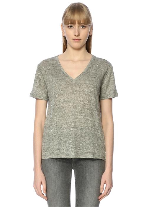 Gri Işıltı Taş İşlemeli Basic Keten T-shirt
