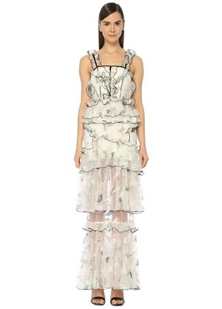 0ab12e23a46f8 Beyaz Kare Yaka Maksi Elbise