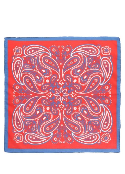 Kırmızı Etnik Desenli 55x55 cm Kadın Eşarp