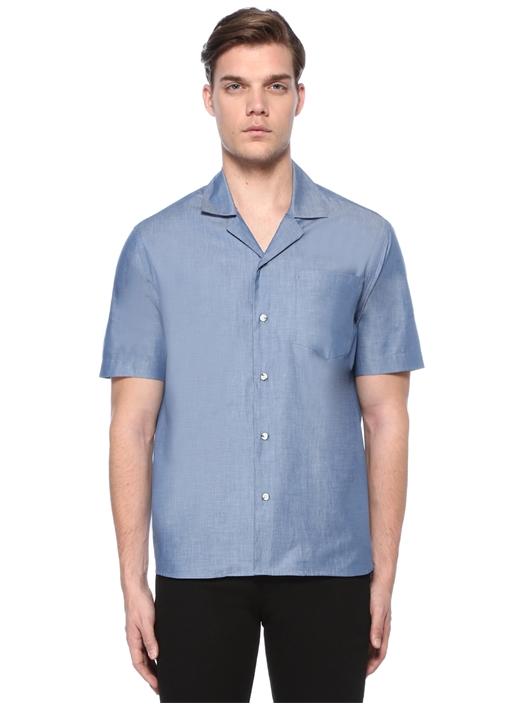 Mavi Apaç Yaka Cepli Chambray Gömlek