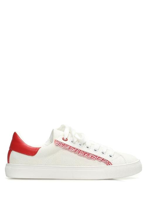 Beyaz Kırmızı Fırfırlı Kadın Sneaker