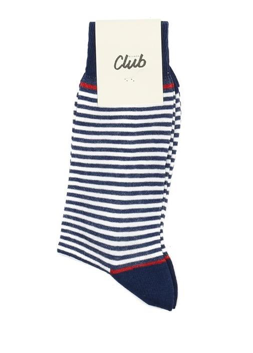 Beyaz Lacivert Çizgili Logolu Erkek Çorap