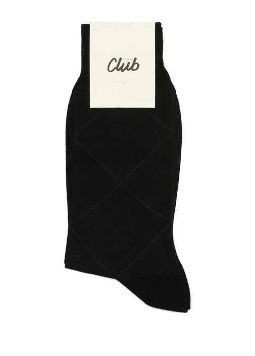 Siyah Baklava Desenli Logolu Erkek Çorap
