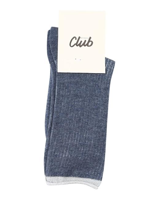 Lacivert Ribli Simli Kadın Çorap