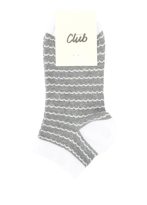 Gri Dalgalı Çizgili Kadın Soket Çorap