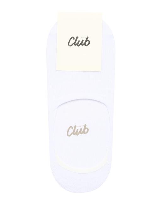 Beyaz Logo Jakarlı Kadın Çorap