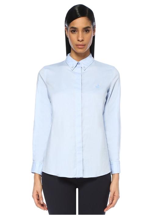 Mavi Yıkamalı Oxford Gömlek