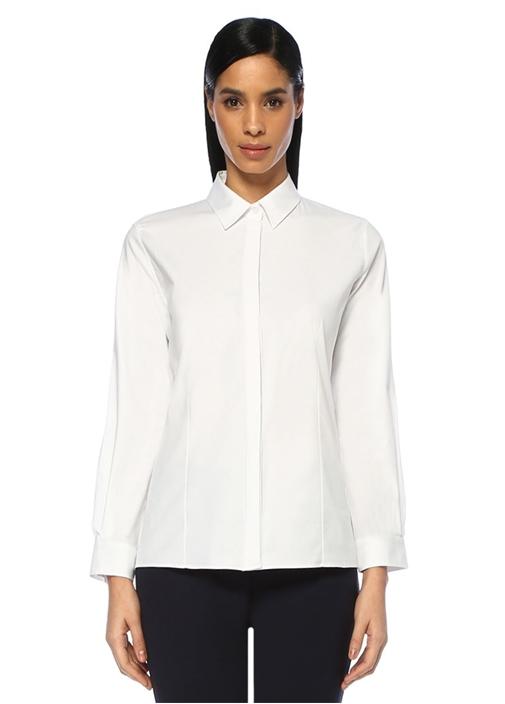 Beyaz Açık Yaka Twill Gömlek