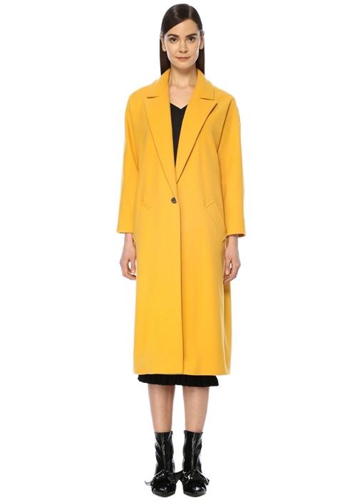 Sarı Kırlangıç Yaka Klasik Uzun Yün Palto