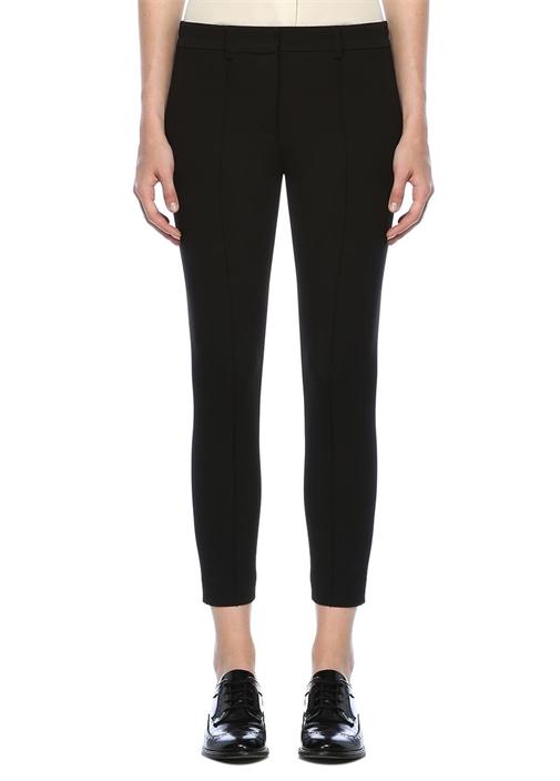 Siyah Paçaları Fermuarlı Nervürlü Pantolon