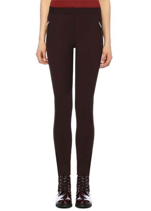 Kahverengi Dikiş Detaylı Dar Paça Pantolon