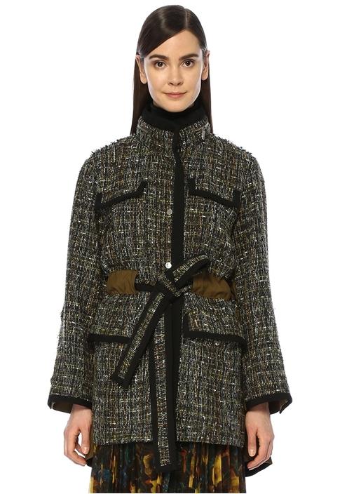Haki Dik Yaka Beli Kuşaklı Garnili Tweed Kaban
