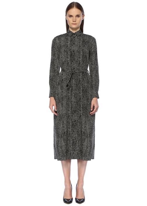 Siyah Mikro Desenli İpek Maxi Gömlek Elbise