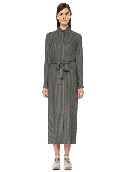 Gri Takım Çizgili Kuşaklı Midi Flanel Elbise