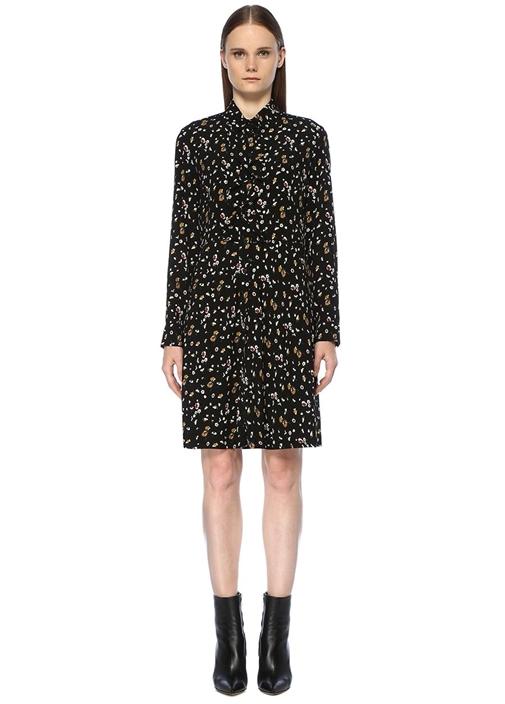 Siyah Papatya Desenli Fırfırlı Midi Gömlek Elbise
