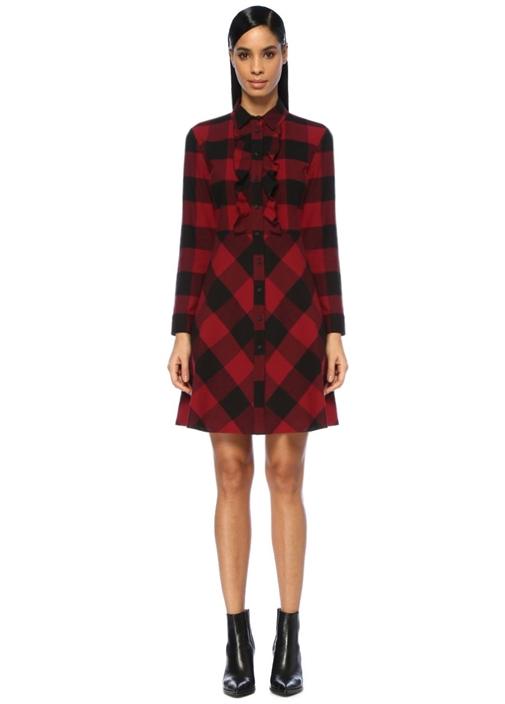 Kırmızı Siyah Kareli Mini Gömlek Elbise