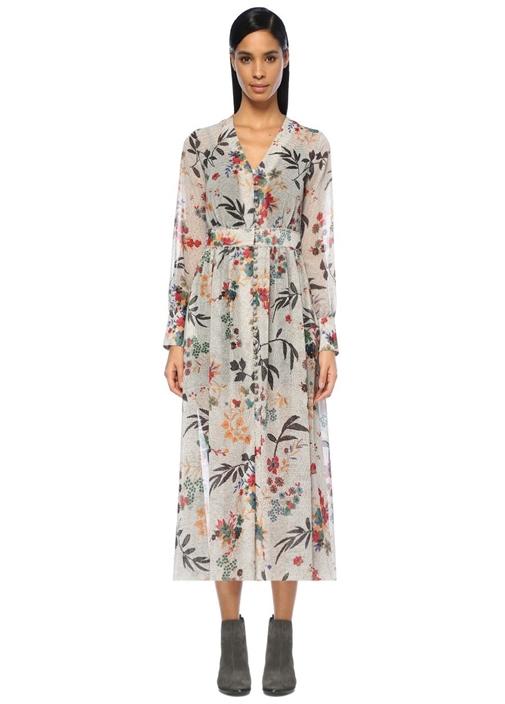 V Yaka Puanlı Çiçekli Önü Düğmeli Midi Elbise