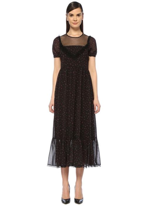 Siyah Çiçekli Tül Detaylı Maksi Viktoryan Elbise