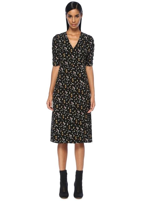 Siyah Çiçekli Kolları Büzgülü Midi Anvelop Elbise