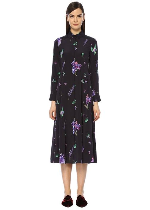 Lacivert İngiliz Yaka Leylak Desenli Midi Elbise